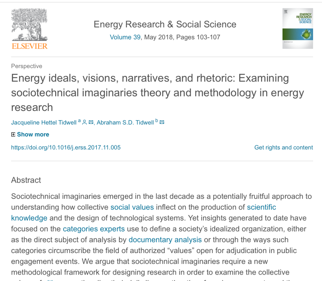The abstract and title of J.H. Tidwell's May 2018 article in Energy Research & Social Science.